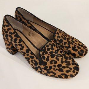 Banana Republic Leopard Calf Hair Block Heel Shoes
